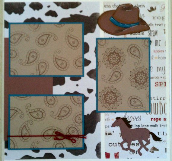 Cowboy / Rodeo 12x12 premade scrapbook layout page by ohioscrapper