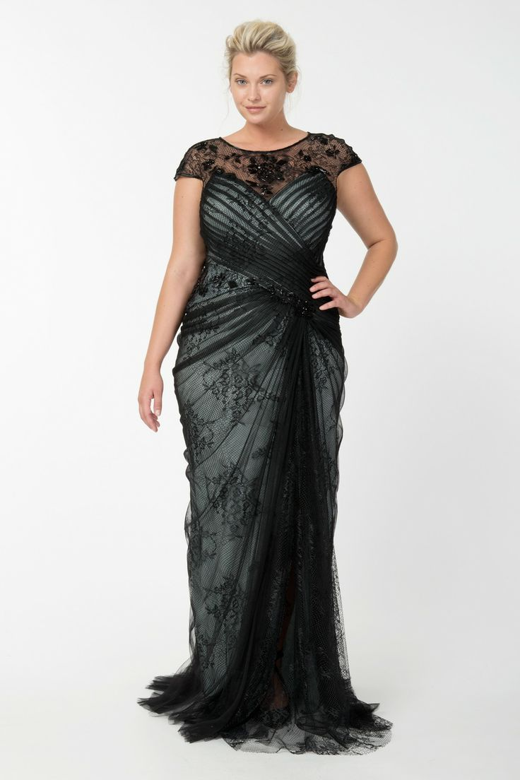 Lace and Draped Tulle Gown in Black / Marble - Plus Size Evening Shop | Tadashi Shoji