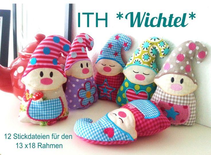 ♥ 12 ITH Stickdateien *Wichtel* 13x18 Rahmen ♥ von StoffCut auf DaWanda.com
