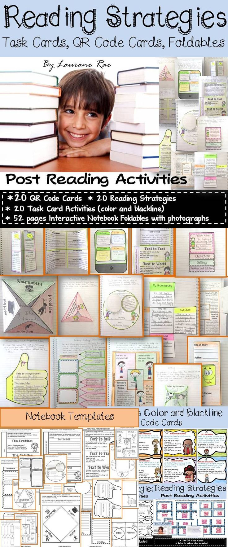 This bundle of 20 Task Card, QR Code Cards, and 52 pages of notebook foldables with color photographs of assembly instructions is sure to equip your students with key reading skills,and would definitely prepare them for standardized testing. $