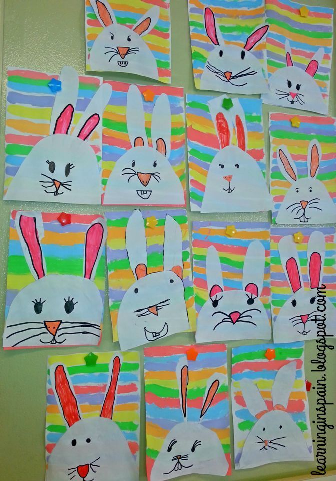 First grade Easter bunnies...I would use the background as color mixing review!