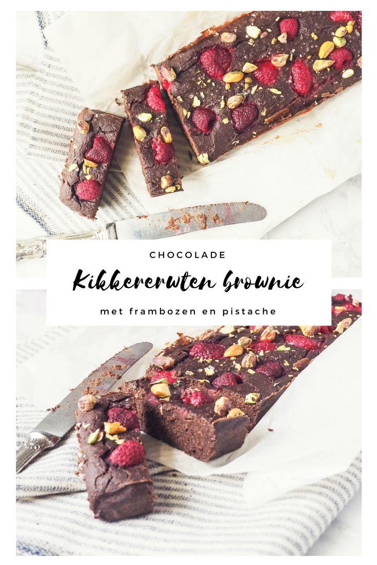 Chocolade kikkererwten brownie met frambozen