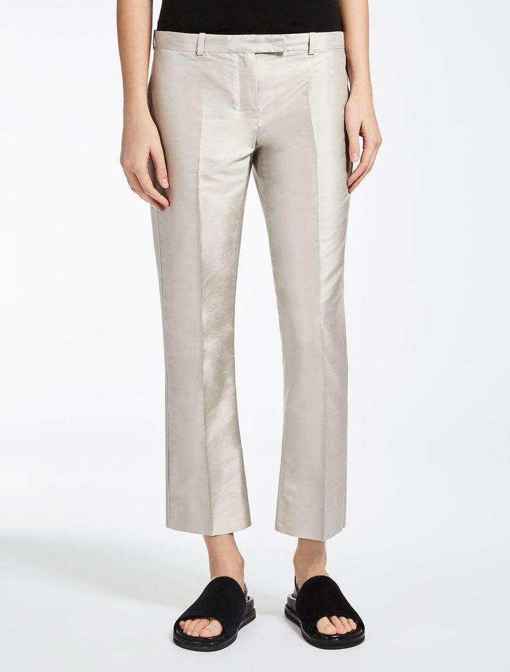 Max Mara RUTH argento: Pantaloni in shantung di seta.
