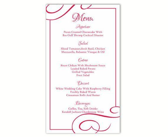 Wedding Menu Template Diy Menu Card Template Editable Text Word