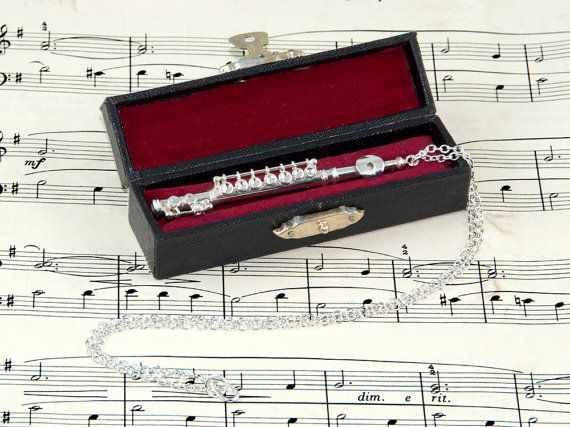 Flute Necklace in Case Music Jewellery Flute by twopennylane