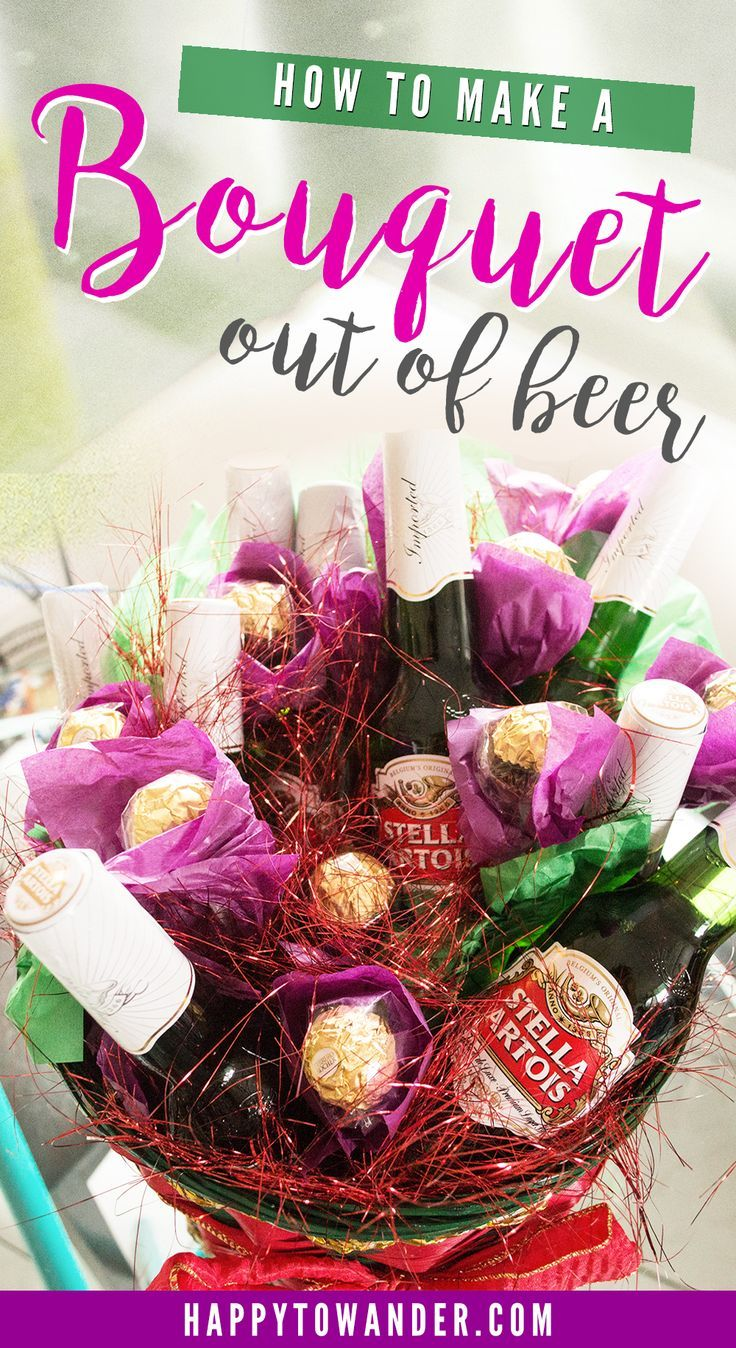 One of the coolest DIY gifts you could give someone - an epic bouquet made of beers and Ferrero Rocher flowers! Perfect as a Valentine's Day gift.