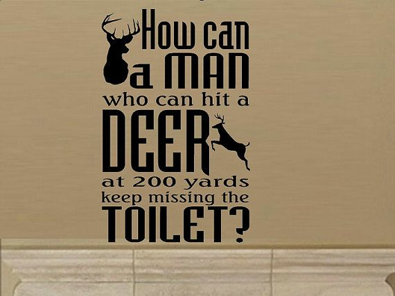 A man can hit deer miss toilet wall decal wd funny decal camp decor man cave decal for men home decor nature hunting vinyl decal humor decal