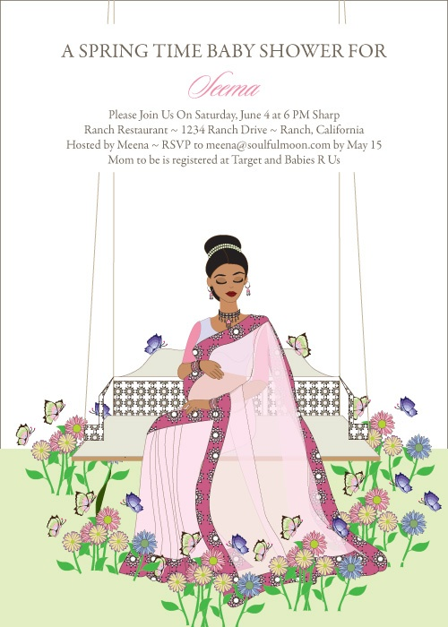 Swinging Diva Indian Bridal Shower Invitations by #Soulfulmoon