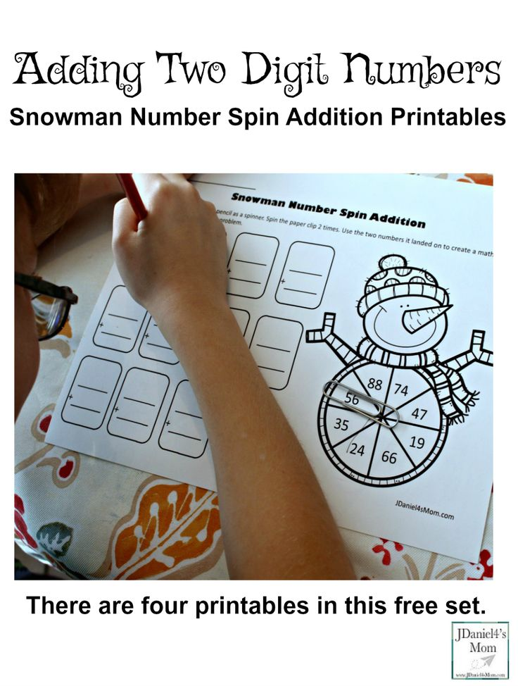 Adding Two Digit Numbers Snowman Number Spin Addition- Children at home and students at school will have fun using a spinner on the printable to create their own number facts. (This is a free printable set.)