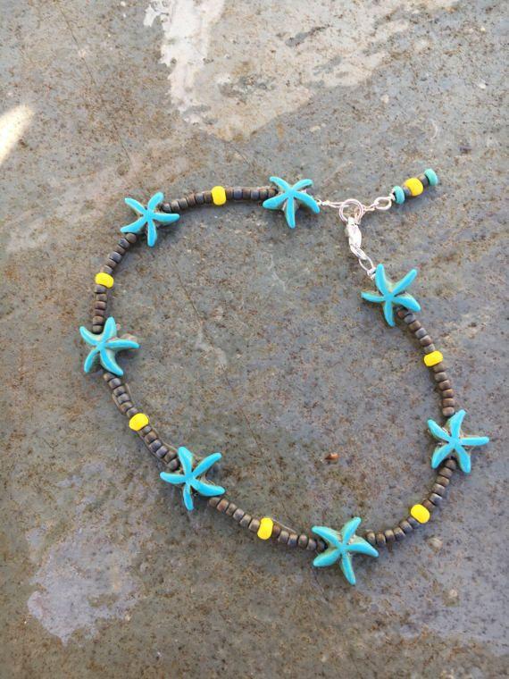 Starfish Anklet, Ankle Bracelet, Beach Anklet, Boho Anklet, Beaded Anklet, Hippie Anklet, Anklet, Womans Anklet, Nautical Anklet