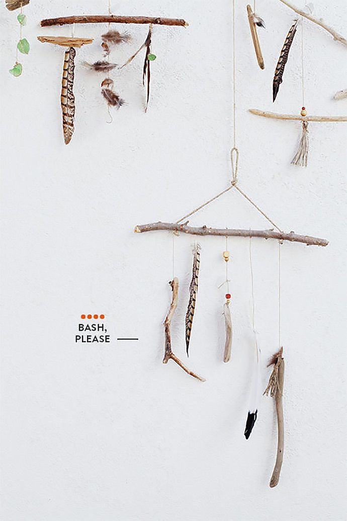 DIY Feather and Stick Mobiles via Design Love Fest
