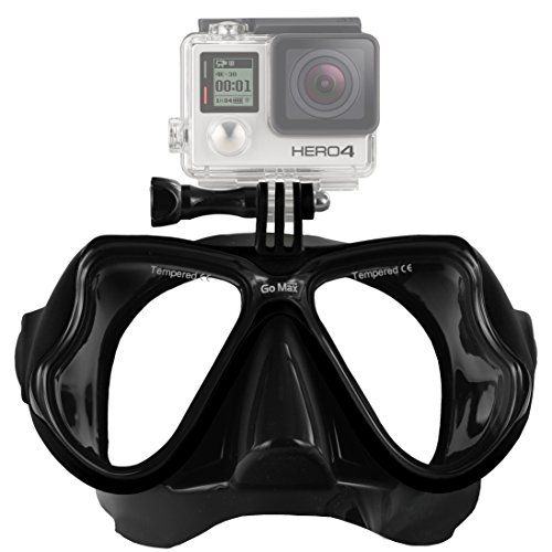 GoPro ® Scuba Diving Mask compatible w/ GoPro ® Hero 1, 2, 3, 3+ and 4, Black, Silver and White editions (Black on Black) - http://scuba.megainfohouse.com/gopro-scuba-diving-mask-compatible-w-gopro-hero-1-2-3-3-and-4-black-silver-and-white-editions-black-on-black.html/