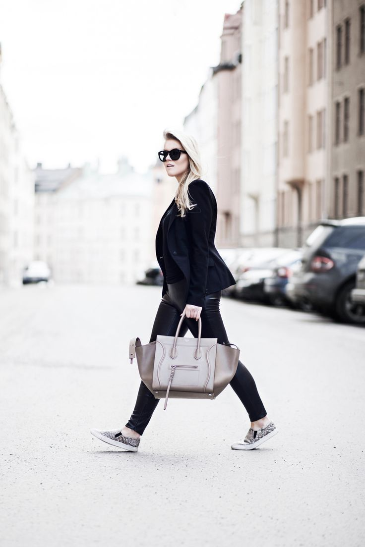 All black & slip on shoes