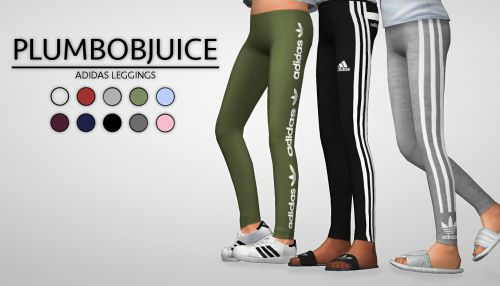 Adidas leggings 3 different styles, 10 colors for each style Made for girls, I might make an adult version if anybody wants me to. Can be found in the accessory tab under leggings. Download