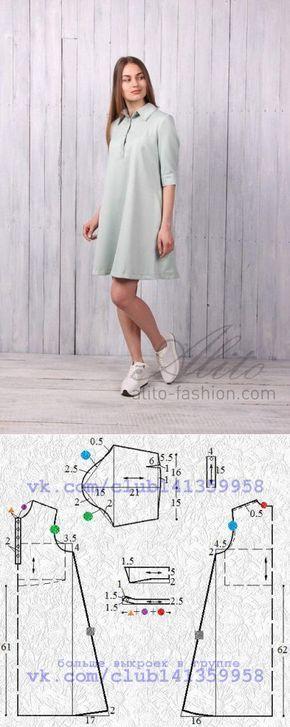 Шитье | простые выкройки | простые вещи.Платье расклешенного книзу силуэта, с застежкой на планке и отложным воротником - моделирование по базовой выкройке.