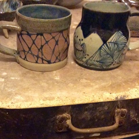"""14 Likes, 5 Comments - Caroline Gault (@zombiecazz) on Instagram: """"My Zentangle Collection. Not great photos, but they turned out super. #ceramics #pottery #mugs…"""""""