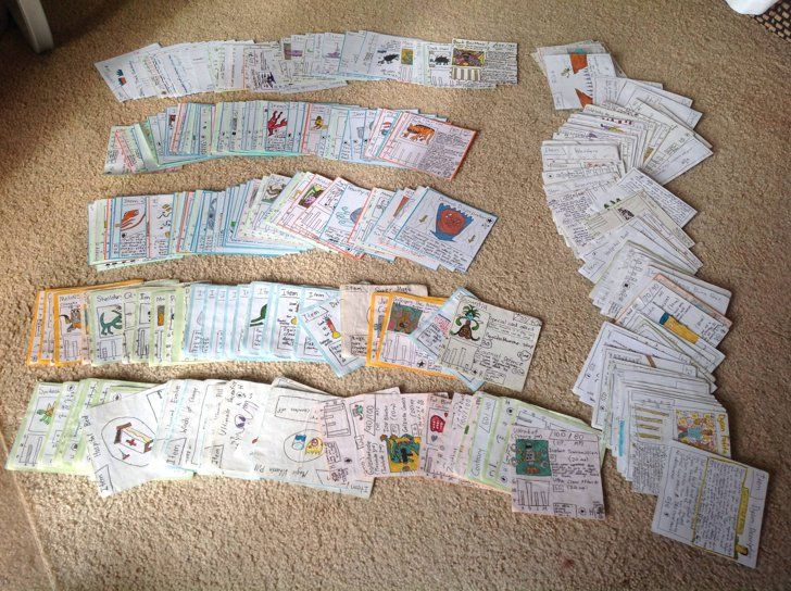 """Pin for Later: These Brothers Were Too Poor to Buy Pokémon Cards Growing Up, So They Made Their Own """"Spread out of all the cards."""""""