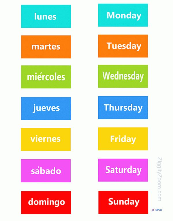 English-Spanish Days of the week ... for Kids .. print & make a game or magnets