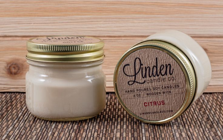 CITRUS scented // 4oz mason jar soy candle// Hand Poured and Handmade in California. All Natural Eco Friendly,luxury candle by LindenCandleCompany on Etsy