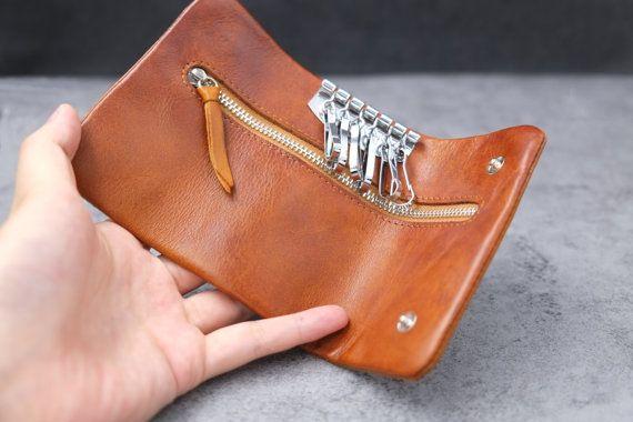Blown Folding leather coin purse/change purse/key case with zipper design