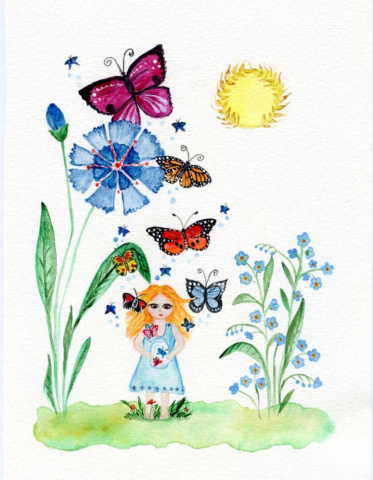 Girl with butterflies. #watercolour #butterflies #flowers #spring