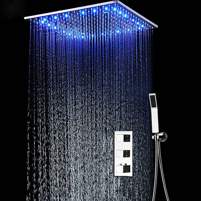 Bathroom Fixture Shower System 20 Inch Led Mist Rain Shower