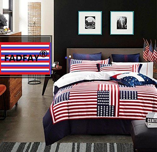 FADFAY Home Textile American Flag Bedding Set USA Flag Bedding Set Unique Designer Bedding Sets Cotton Bed Sheet Set Ropa De Cama Duvet Cover Set Full Size Bedding Sets Queen Sheet Set Kids Bedding Set Adult Teen Bedding Grils Boys Bedding Sets Red Striped Bed In A Bag Sets * See this great product.