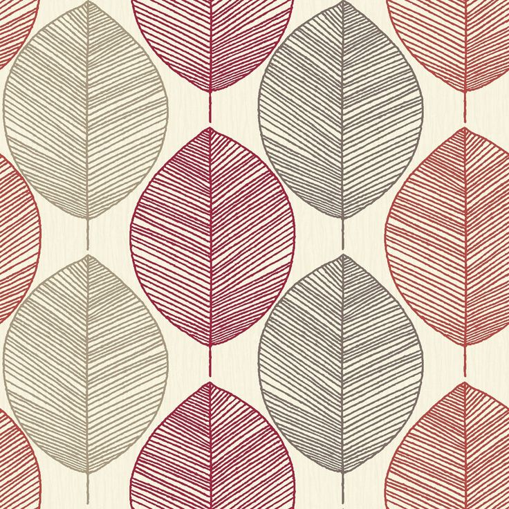 Arthouse Retro Leaf Red Wallpaper
