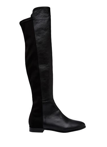 Leather pull on over the knee boot with stretch back panel for easy fit. Leather lining with synthetic upper and sole.