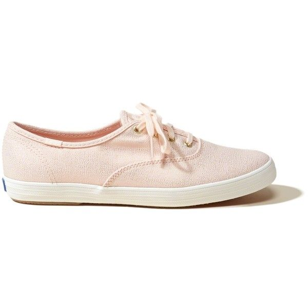 Hollister Keds Champion Metallic Canvas Sneaker (£35) ❤ liked on Polyvore featuring shoes, sneakers, flats, tenis, pink with shine, pink shoes, metallic sneakers, pink lace up flats, canvas sneakers and lace up flats
