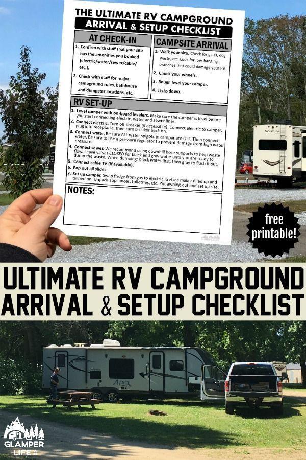 Printable Rv Campground Setup Checklist In 2020 Travel Trailer Camping Rv Camping Checklist Rv Campgrounds