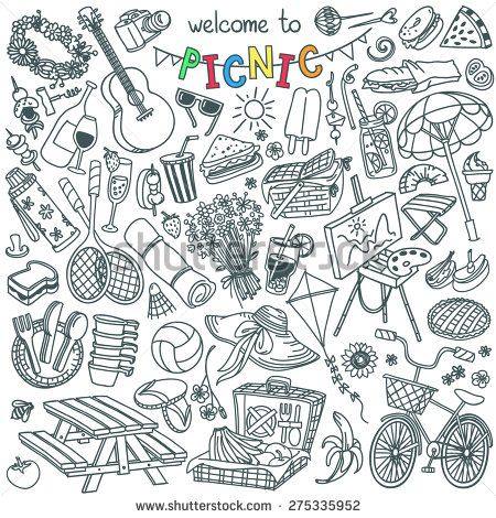Summer Picnic Doodle Set. Various Meals, Drinks, Objects, Sport Activities. Vector Illustration Isolated Over White Background. - 275335952 : Shutterstock