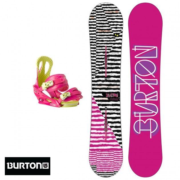 Women's Burton Feather Snowboard + Burton Citizen Snowboard Bindings, Pink Pizzaz Small - 140cm