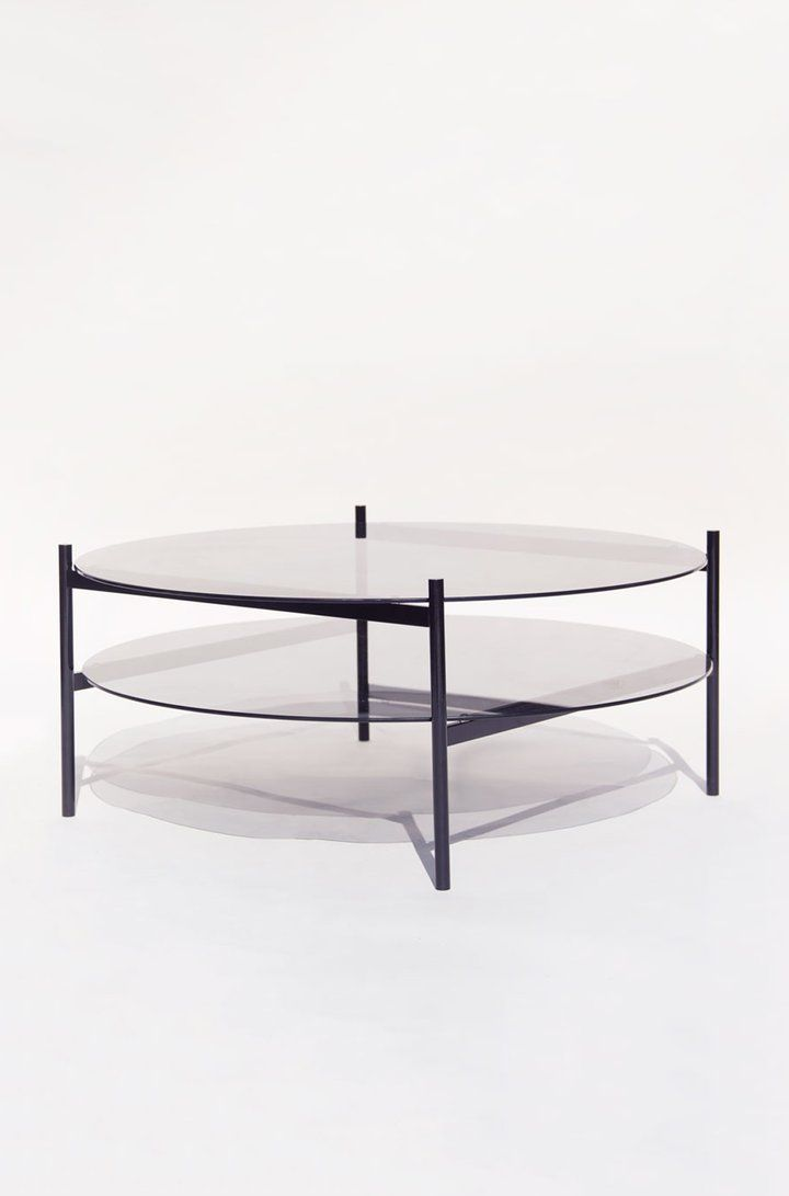Duotone Circular Coffee Table Black Frame Smoked Gl