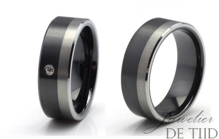 Wolfraam met keramiek trouwringen 8mm breed met steen - Juwelier de Tijd | Persoonlijk advies over trouwringen, sieraden en taxaties