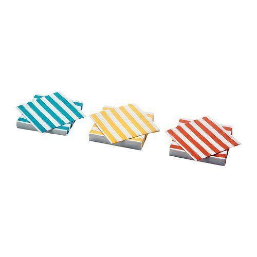 Ikea Matta Paper Napkin, Stripe Turquoise, Orange/yellow - 30 Pack by Ikea, http://www.amazon.com/dp/B00CGXQ2QA/ref=cm_sw_r_pi_dp_sSx5rb0GK4M08
