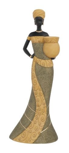 Candleholder Woman-B in olive - figurine