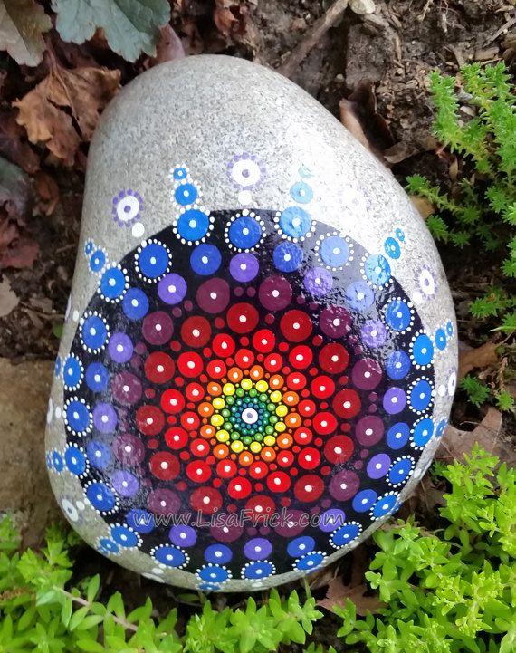 Painted garden rock mandala sacred geometry by lisafrick - Painting rocks for garden ...
