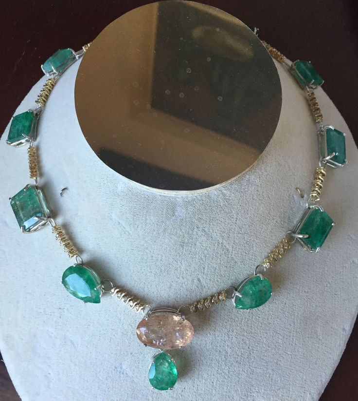 New Estate 95.3+Ct Zambian Emerald, morganite & diamond 14k gold necklace 15in #Custom #couturechoker