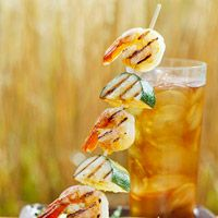 Skewered Shrimp and Zucchini with Basil Cream Sauce