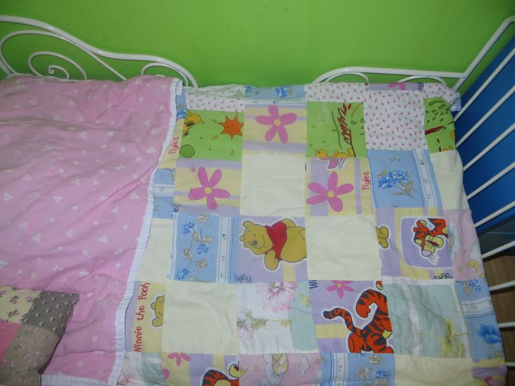 Pachwork bed cover from old pillowcases