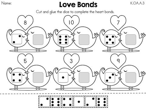Love Bonds >> Decomposing Numbers using dots >> Part of the Valentine's Day Kindergarten Math Worksheets