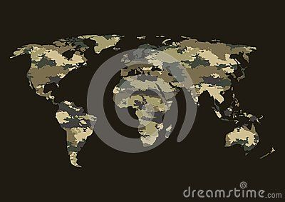 World map camouflage-vector illustration. Banner camouflage brown green on the world map.