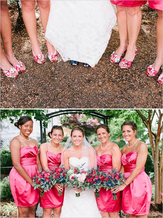 pink wedding dresses for bridesmaids #bridesmaids #pinkdresses #weddingchicks http://www.weddingchicks.com/2014/04/11/bbq-wedding/