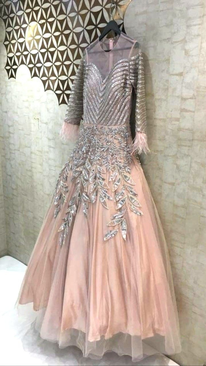 42e50de300 Beautiful Hand Embroidered Net and silk Gown with superb embroidery  embellishments and traditional silhouettes.