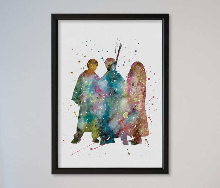Harry Potter Poster Ronald Weasley Hermione Granger Art Print Watercolor Print poster express delivery fast service