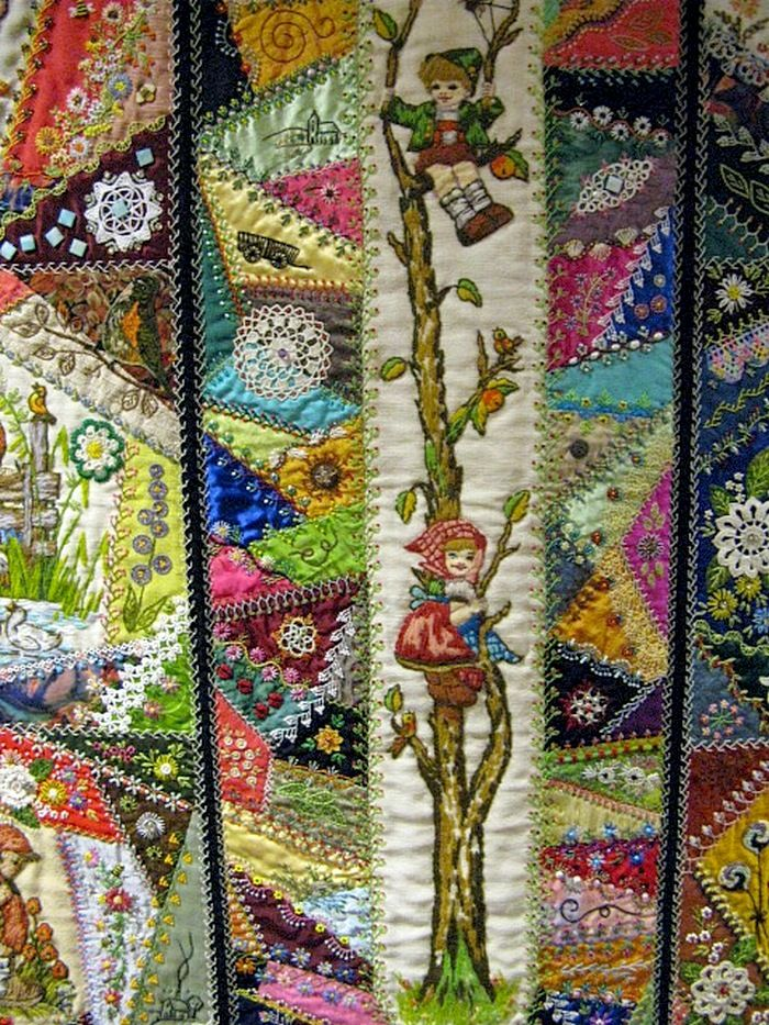 "I ❤ crazy quilting & embroidery . . . Mesa Arizonia Quilt Show, Trends and Traditions, Honorable Mention 2013- Little Darlings Crazy Quilt- When I was a little girl my mother had several Hummel Figurines sitting on shelves as decorations in our home. Because of their delicate nature, I was not allowed to touch them, so I spent many hours staring at the porcelain details. They became ""surrogate dolls"" where I would imagine myself inserted into their farmland settings."
