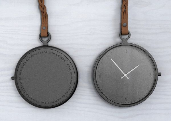 People People Pocket Watch: Not many wear pocket watches today, but maybe more would if they looked as modern yet timeless as this leather strapped, single piece of aluminum face pocket watch from Stockholm, Sweden.