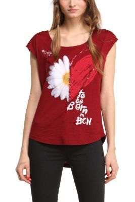 Desigual women's Desi T-shirt. Heart or daisy