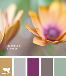 I like this combo, not crazy about the idea of gold but maybe a yellow.:    gold, grey, plum, slate, seafoam (Just leave out the plum)